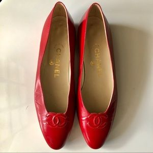Chanel Red Flats - Circa 1990's- Size 37 (US 7)